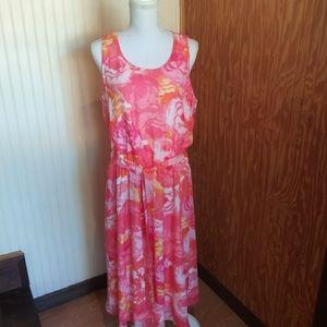 Sleeveless Pink Flowered Sundress AA Studio